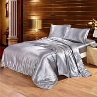 Solid Color Satin Faux Silk Grey Bedding set Duvet Cover Set Silky Bed cover 2/3/4PCS US Twin Queen King UK Single Double King