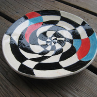 Psychedelic Ceramic Plate - Black White Red and Turquoise - Ceramics and Pottery - Jewelry Tray - Outdoor Patio Decor