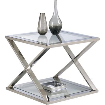 Gotham End Table Glass & Chrome