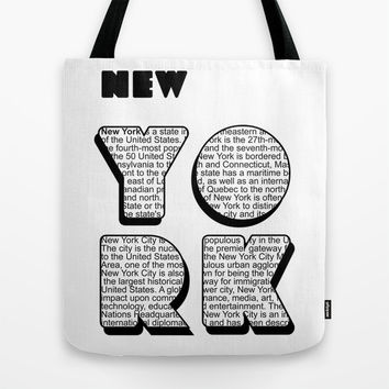 New York in writing Tote Bag by Shu | Formanuova
