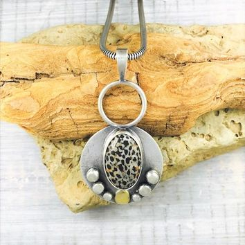 Sterling Silver Fossil Reversible and 22 K Gold Necklace