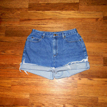 Vintage Denim Cut Offs - 90s Stone Washed Blue Jean Shorts - High Waisted/Cut Off/Rolled Up Short Shorts by Liz Clairborne - Size 11/12