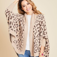 Look by M Leopard Shrug Cardigan