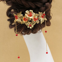 Chinese hair comb red headdress bride costume fringed flowers butterfly hair accessories wedding jewelry accessories-in Hair Jewelry from Jewelry & Accessories on Aliexpress.com | Alibaba Group