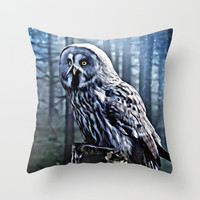 OWL IN THE FOREST Throw Pillow by Digital Effects