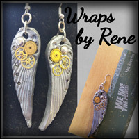 Silver Clockwork Angel Wings Earrings/Jewelry/Guardian Angel/Mother's Day/Graduation/Bridal/Maid of Honor Gifts