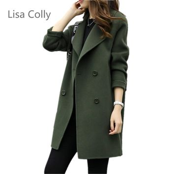 Trendy Lisa Colly Spring Autumn New fashion women's wool Jacket coat double breasted coat Women long sleeves Loose OL Outwear Coat AT_94_13