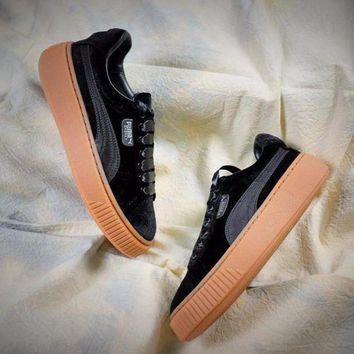 CREYNW6 Puma Suede Classic Basket Shoes With Black Silk Laces