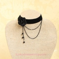 Gothic Flowers Fringed Velvet Rope Lolita Necklace