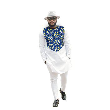 Fashion African Men Tops+pants set Male Dashiki Clothes Print And White Long Sleeve Man T shirt and pants sets African Clothing