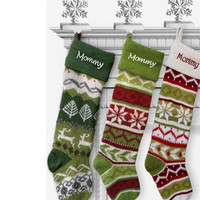Personalized Knitted Christmas Stockings Green White