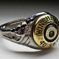40 S&W Winchester Sexy Brass Domed Signet style Bullet Head Ring
