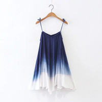 Summer Strappy Color Gradient Boho Dress [10454786383]