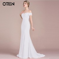 OTEN Womens Sexy Off shoulder Short sleeve V Neck Lace Patchwork Formal Evening Party White Long dress Floor Length vestido 2018