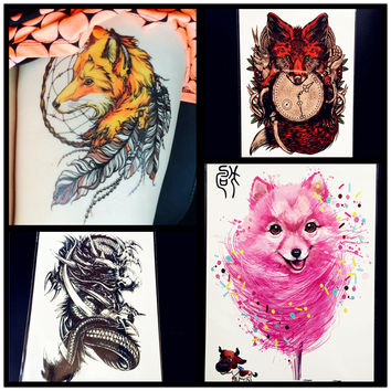 Fashion Sexy Fox Temporary Tattoo Women Body ARt Flash Tattoo Stickers 21x15CM Flying Black Dragon Tatoo Men Armband Henna Paste