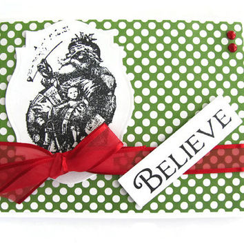 Believe Christmas Card, Old Time Santa with Toys, Merry Christmas, Green and White Polka Dots