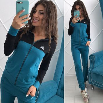 ADIDAS Women Fashion Cardigan Jacket Coat Pants Trousers Set Two-Piece
