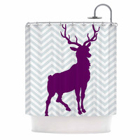 "Suzanne Carter ""Chevron Deer"" Purple  Shower Curtain"