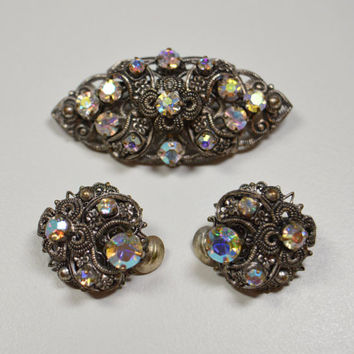Vintage Dark Metal Aurora Borealis Brooch Clip Earring Set West Germany Aurora Borealis Rhinestones Dark Metal Filigree Design Jewelry Set