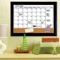 "Quartet® Magnetic Combination Calendar Board, Dry-Erase & Cork, 1-Month Design, Espresso Frame, 17"" x 23\"" 