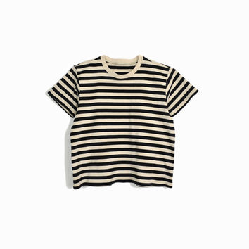 Vintage 90s Striped Tee in Black & Tan / Short Sleeve T-Shirt  - women's medium/medium petite
