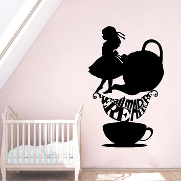 Wall Decals Quote We're All Mad Sticker Vinyl Alice In Wonderland Nursery SM57