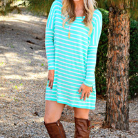 SHAKE IT OFF STRIPED TUNIC DRESS IN MINT