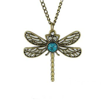 Hollow Dragonfly Pendant Necklace For Women