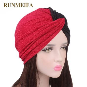 design Stretch cotton Muslim Skullies & Beanies Stretch cloth headgear cap for women luxury brand head scarf African/India wrap