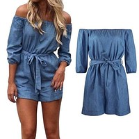 Womens Summer Off Shoulder Playsuit Romper Denim Shorts Jumpsuit
