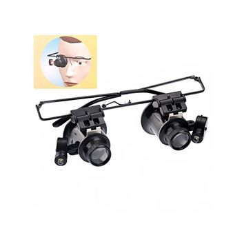 Head-band Type 20X Magnifier Eye Glasses Loupe Lens Jeweler Watch Repair Magnifying Lens with LED Lights