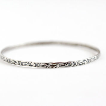 Vintage Sterling Silver Bangle Bracelet - Retro 1960s Swirling Design Stacking Eternity Classic 8 Inch Jewelry Signed D