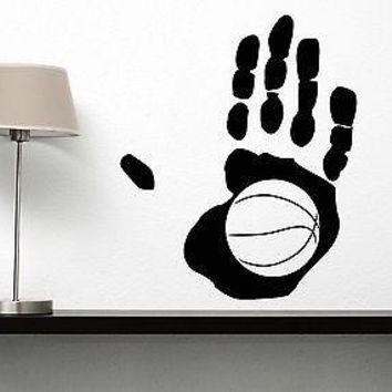 Wall Vinyl Sticker Decal Abstract Palm Basketball Player Ball Basketboll Unique Gift (n042)