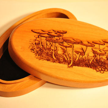 Engraved Wooden Mushroom Jewelry Box , Mushroom patch field Wooden , Nature Cherry , Custom artwork available
