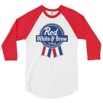 Red White and Brew 3/4 Sleeve Raglan