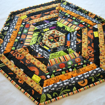 Halloween Hexagonal Table Topper Quilted Scrappy Bright Assortment Handmade