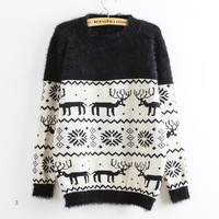Deer Snowflake Round Neck Sweater For Women Black