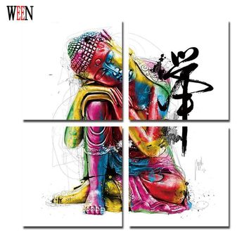 Buddha Canvas Painting Framed zen painting Wall Picture For Living Room 4Pcs meditation Tableau Peinture Sur Toile Canvas art
