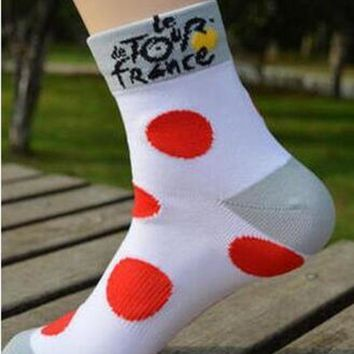 LMFEB2 2 Pairs/Pack Cycling Stars Professional Tour de France Cycling Socks Run Outdoor Stocking Mountain Bike Socks