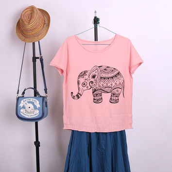Print Summer Women's Fashion Cotton Short Sleeve Tops [10240452237]
