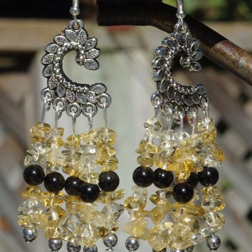 Citrine and Black Onyx Chandelier Earrings  ~  Black and Yellow Stones ~ Healing Stones ~ November Birthstone ~ Boho Jewelry ~ Holiday Gift