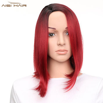 Ombre Red Bob Synthetic Wig Hair