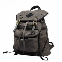 Gray water resistant waxed canvas travel rucksack | compus backpack