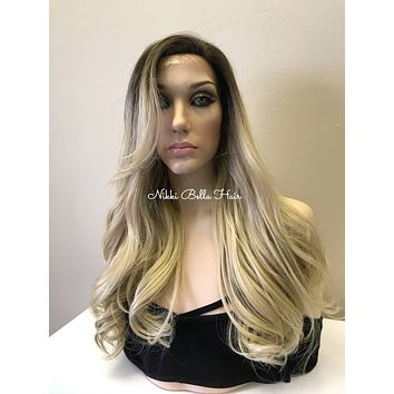 Light Ash Blonde Balayage Human Hair Blend Deep Part Lace Front Wig -  Missy