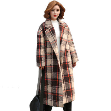 British style fashion wool overcoat 2016 women winter brand double breasted wool coat long loose casual plaid wool outwear AA181
