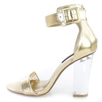 Gold Single Sole Clear Chunky High Heels Faux Leather