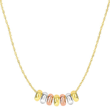 14K Tri-color Yellow White And Rose Gold 7 Sliding Shiny Ring Charms On 18 Inch Necklace