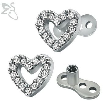 ac ICIKO2Q White Crystal Heart Micro Dermal Anchor Titanium Stainless Steel Skin Diver Jewelry Hide in Skin Piercings Body Jewelry