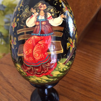 Holiday Egg Red Dress Girl traditional russian art collectible decorative souvenir holiday birthday gift wood curved painted by hand