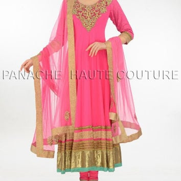 Sensational pink net suit with resham work